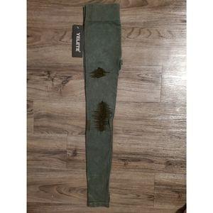 Yelete Pants - Yelete Dark Green Distressed Leggings